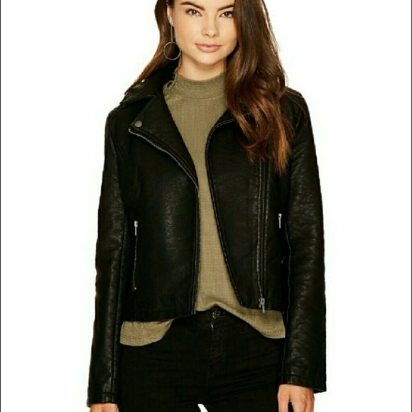 1aba7e76594 Harve Bernard Black Faux Leather Moto Biker Jacket
